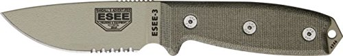 ESEE Knives 3SKODT Part Serrated Model 3 Fixed Blade Knife with OD Green Canvas Micarta Handles