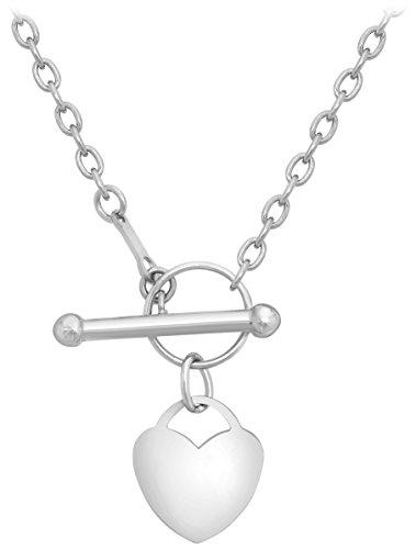 Carissima Gold 9ct White Gold Mini Heart T-Bar Necklace of 40cm/16'