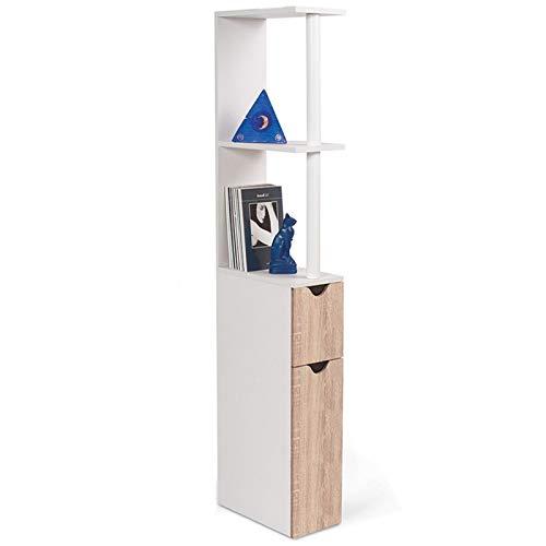 ProBache - Meuble WC étagère WILLY bois gain de place pour toilette 2 portes hêtre