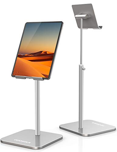 ODOSOLA Tablet Stand Height Angle Adjustable, Eye-Level Desktop iPad Stands Tablet Holder for Home Office, Cradle Dock for iPad Pro 12.9, Air Mini 4, Kindle, E-Reader, Nexus, iPhone (4-13'') Silver