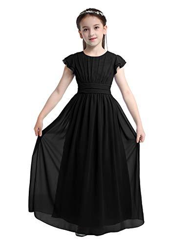 Aislor Elegante Vestido Largo para Niñas Princesa sin Mangas de Gasa Vestido de Boda Dama de Honor Infantil Vestido de Fiesta Ceremonia Traje de Gala Noche 4-14 Años Negro 13-14 años