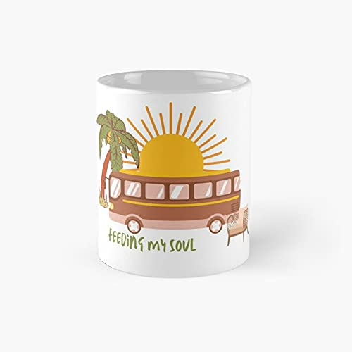 Feeding My Soul - Vanlife Classic Mug Ceramic Coffee White (11 Ounce) Tea Cup Gifts For Bestie, Mom And Dad, Lover, Lgbt