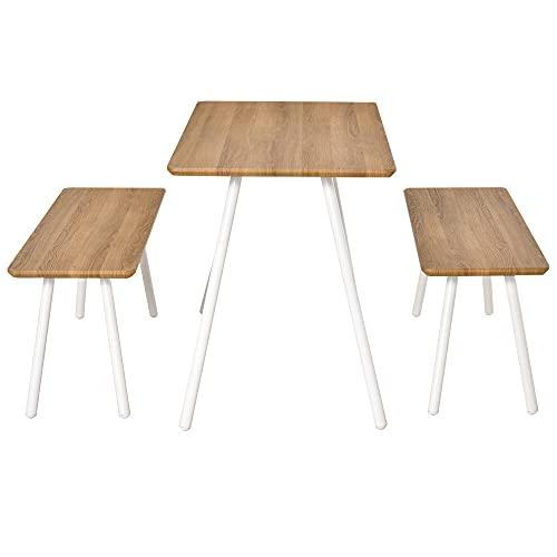 HOMCOM Essgruppe mit 2 Bänken Skandinavischer Stil Esszimmergarnitur Sitzgruppe Tischgruppe MDF Metall Natur+Weiß120x50x75cm (Tisch) 110x35x45cm (Bank)