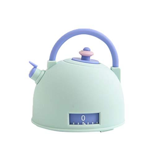 UPKOCH Küchentimer manuelle mechanische Alarm Erinnerung Teekanne Form (grün)