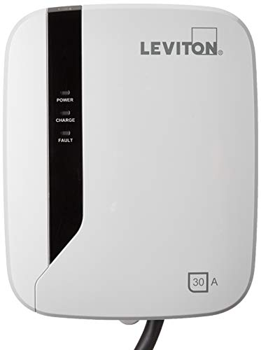 Leviton EVR30-B18 Evr-Green E30 Charging Station, 30A, 208-240Vac, 7.2Kw output, 18' Charging Cable, Hardwired