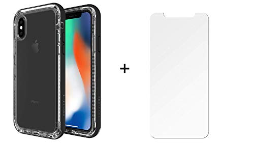 Lifeproof Next Series Case for iPhone Xs & iPhone X - Retail Packaging - Black Crystal - with Alpha Glass Screen Protector