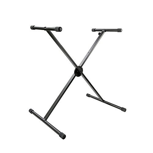 Tenuto Tech Classic Single X-Style Heavy Duty Folding Keyboard Stand Piano Stand Height Adjustable, Black
