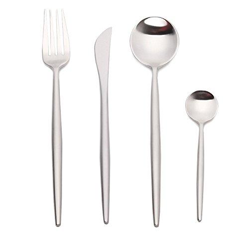 Design Stiel - Juego de cuchillos de carne (acero inoxidable pulido, para 4, 6 y 12 personas), color plateado