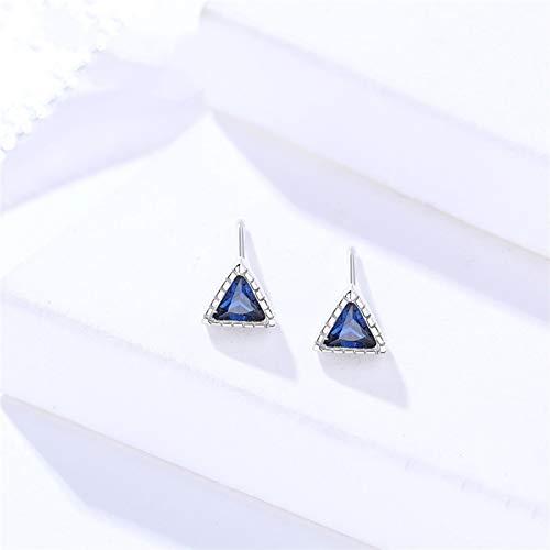 ENDFF Pendientes de plata de ley 925 triángulo de circonita transparente con zafiro amarillo para mujer, joyería pequeña de moda (color de la gema: color azul)