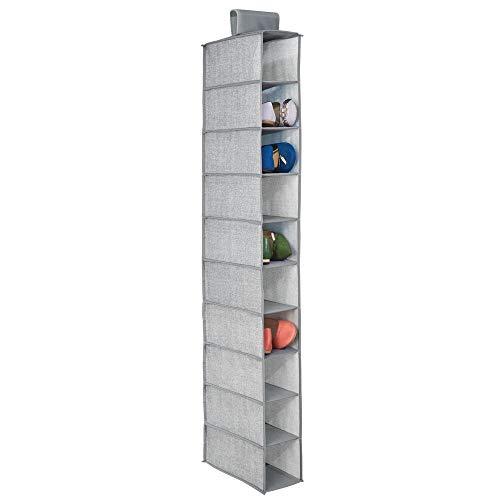 mDesign Zapatero de tela para colgar en el armario – Armario de tela para guardar zapatos, bolsos, etc.– Estantería colgante para organizar calzado con 10 estantes – gris