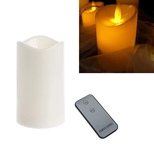 XUAILI Kandelaar cilindrische LED Elektronische Candle Light Simulatie Huwelijk Kaarsenstandaard Kaars met afstandsbediening (grootte: 15x7.5cm)