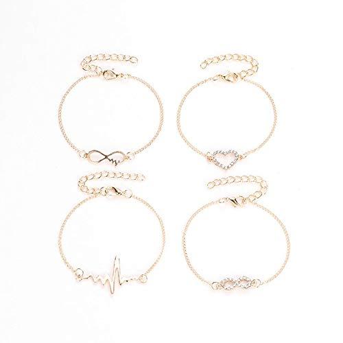 ArgoBar 4-teiliges Schlichtes Liebesarmband mit 8 Wörtern Herzschlag Persönlichkeit Set Armband Damen Armband (Gold)