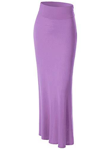 WB296 Womens Lightweight Floor Length Maxi Skirt S Lilac