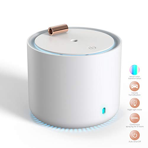 Portable Mini Humidifiers, Humidifiers for Bedroom, Cool Mist Humidifier, Office Desk Humidifier, Touch Control Desktop Humidifier With 7-Color LED Night Light, Automatic Shut-Off,2 Mist Modes