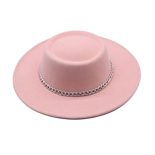 BUXIANGGAN Fedora Trilby Sombrero De Mujer con Cadena Sombreros De Fieltro Sombreros De ala De 8,5 Cm Sombrero De Jazz para Hombres Sombrero De Vestir De Calle De Panam 56-58 Cm Peachpink