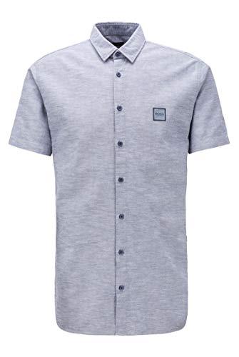 BOSS Herren Magneton 1-Short Slim-Fit Kurzarm-Hemd aus Oxford-Baumwolle