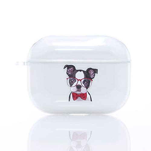 Clear AirPods Pro Case,TPU AirPod Pro Case Cover for Apple AirPods Pro Charging Case, Cute French Bulldog AirPods Pro Soft Protective Case for Girls Teenages