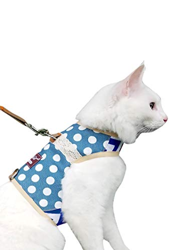 Yizhi Miaow Cat Harness and Leash Escape Proof Large, Adjustable Cat Walking Jackets, Padded Cat Vest Polka Dot Blue