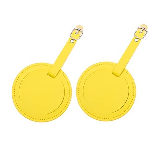 Aboofan, 2 pezzi rotondi in pelle PU, per bagagli da viaggio, etichette identificative e porta nome, con fibbia per valigie, zaini (giallo)
