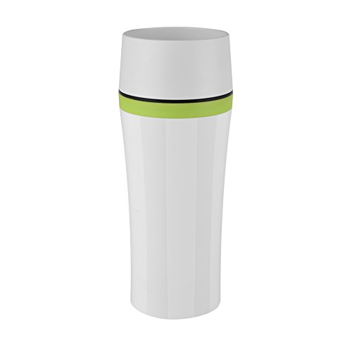 Emsa 514176 thermosbeker, onderweg genieten, 360 ml, Quick Press-sluiting, wit/groen, Travel Mug Fun