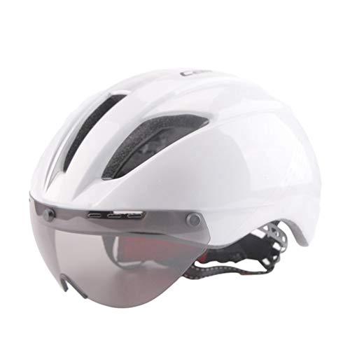 Fahrrad Helm Erwachsene Ultralight Road Fahrrad Sicherheit Helm mit Abnehmbarem Schild Visier - Weiß Silber, L