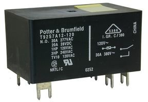 TE CONNECTIVITY/POTTER & BRUMFIELD T92S7D12-12 POWER RELAY DPST-NO 12VDC, 30A, PC BOARD