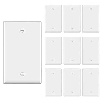 """[10 Pack] BESTTEN 1-Gang No Device Blank Wall Plate Standard Size H4.53"""" x W2.76"""" Unbreakable Polycarbonate Thermoplastic Outlet Cover UL Listed White"""
