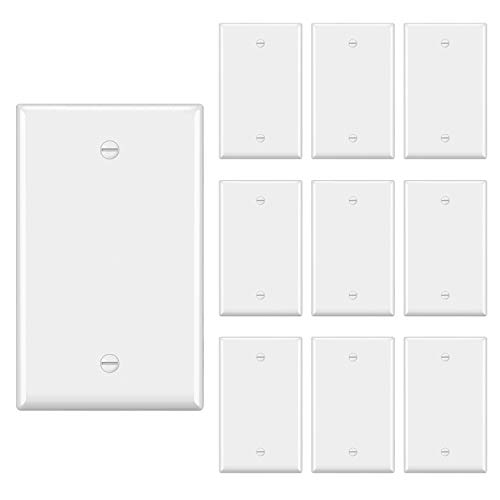 """[10 Pack] BESTTEN 1-Gang No Device Blank Wall Plate, Standard Size, H4.53"""" x W2.76"""", Unbreakable Polycarbonate Thermoplastic Outlet Cover, UL Listed, White"""