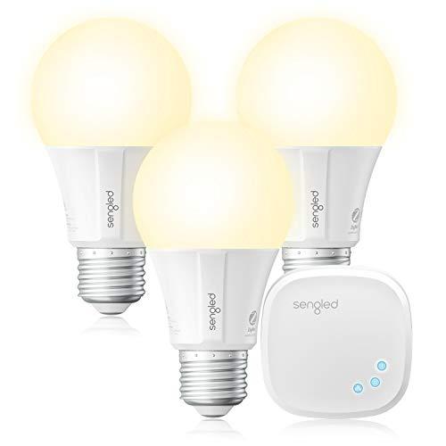 Sengled Bombilla Inteligente Alexa E27 con Concentrador, Bombillas LED Alexa, Google Home, IFTTT, WiFi de 2,4 GHz y 5 GHz, Luz Regulable 9 W (Equivalente a 60 W) 2700 K, 3 Bombillas + 1 Hub