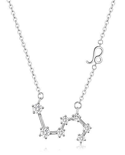 Colgante de constelación de Collar Leo de Plata esterlina, 12 Signos del horóscopo de Julio a Agosto Regalos de cumpleaños para Mujeres, astrología Zodiac Star Jewelry Chain 18-(con Caja de Regalo)