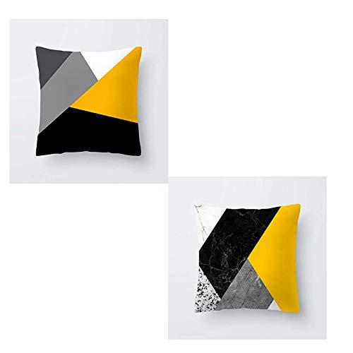 Fundas Cojines 45x45 cm Set 2 Uni Decorativas - Funda De Almohada para Decoración de Sala de Estar Sofás Funda De Microfibra para Decorativa Estilo Moderno - Color Amrillo y Negro