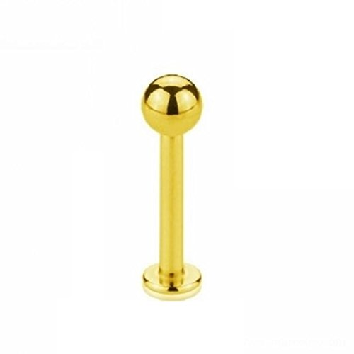 eeddoo Piercing Labret Lippen-Piercings Gold Edelstahl Stärke: 1,0 mm Länge: 6 mm