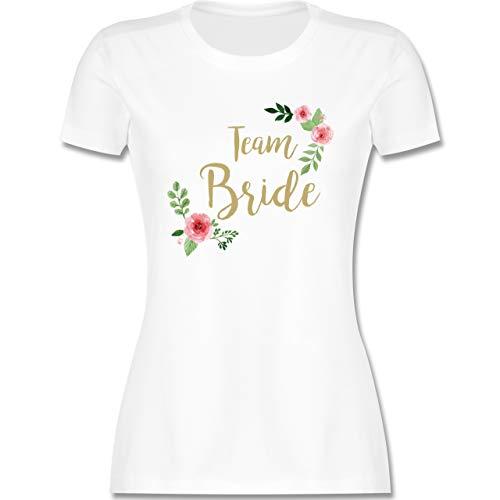 JGA Junggesellenabschied Frauen - Team Bride Blumen Vintage - M - Weiß - Team Braut Tshirt - L191 - Tailliertes Tshirt für Damen und Frauen T-Shirt