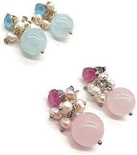orecchini giada, orecchini placcato oro, orecchini rosa, orecchini pietre, orecchini sfera, orecchini perle di fiume, orec...