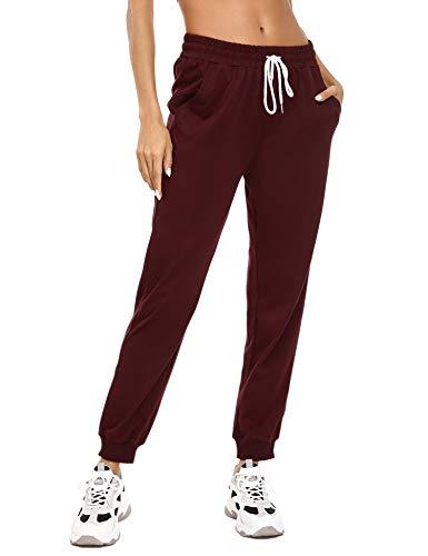 Sykooria Damen Jogginghose Sporthose Lang Yoga Hosen Freizeithose Laufhosen Baumwolle High Waist Trainingshose für Frauen-Weinrot-M