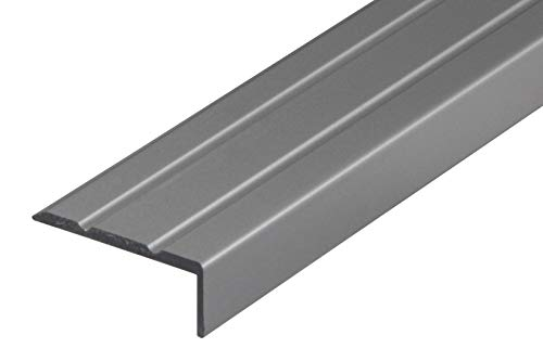 Gedotec Treppen-Kantenprofil selbstklebend Stufen-Kantenprofil Aluminium silber | 1000 mm | Bodenprofil ungelocht zum Kleben | Winkel-Schutzprofil 25 x 8 mm | 1 Stück - Alu Winkelprofil mit Rille