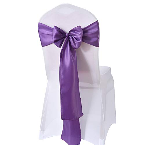 WEBEE Deep Purple Satin Chair Sashes Bows for Wedding Reception Universal-10 PCS Chair Cover Back Tie Supplies for Banquet, Party, Hotel Event Decorations(Deep Purple, 10PCS)