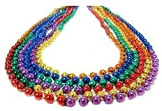 Round Beads Rainbow Sectional Necklace – 33-Inch Strands – 7mm Beads – Pride Parades and Events, Mardi Gras – 60 Dozen
