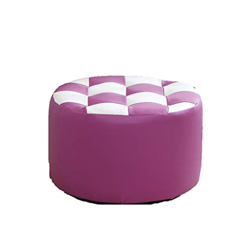 stool Sofá hogar de cuero sintético cilíndrico simple creativo dormitorio sala de estar banco de zapatos perezosos sillas (color: púrpura)