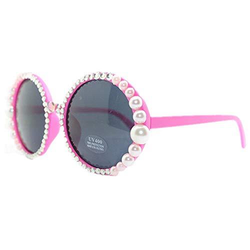 Gafas de Sol de Las Mujeres de la Moda de la Manera de la Gafas de Sol Linda Forma Redonda de la Perla de la Dama Hecha a Mano UV Protección de Gafas de Sol de Playa de Verano