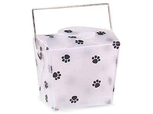 """Take Out Frosted Pails - Small Paw Print Take Out Boxes 2-3/4x2x2-1/2"""" Frosted Plastic (5 Packs; 12 Pails Per Pack) - WRAPS-1149PP"""