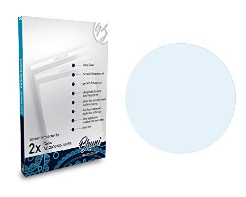 Bruni Schutzfolie kompatibel mit Casio AE-2000WD-1AVEF Folie, glasklare Bildschirmschutzfolie (2X)