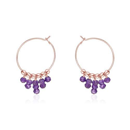 Amethyst Hoop Earrings in 14k Rose Gold Fill
