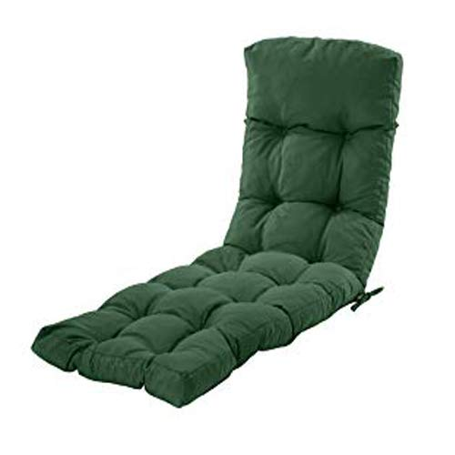 Gardenista Sun Lounger Cushion Pad | Water Resistant and Breathable Easy Clean Fabric | Soft and Comfy | Outdoor Garden Reclining Lounger Cushion | 200 x 60 x 7 cm (Green)