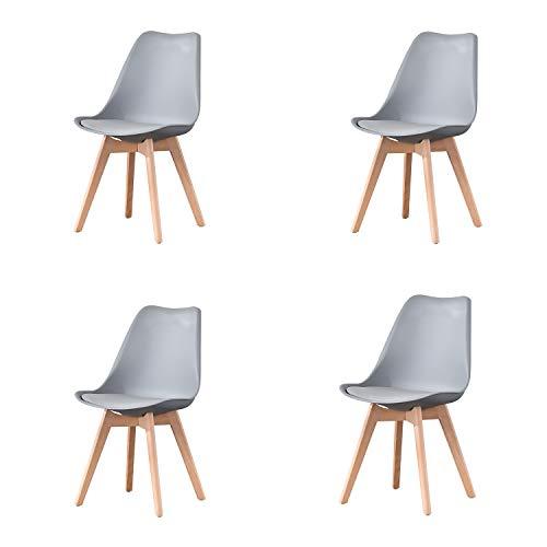 4er Set Esszimmerstühle mit Massivholz Buche Bein, Retro Design Stühle im skandinavischen Stil (Grau)