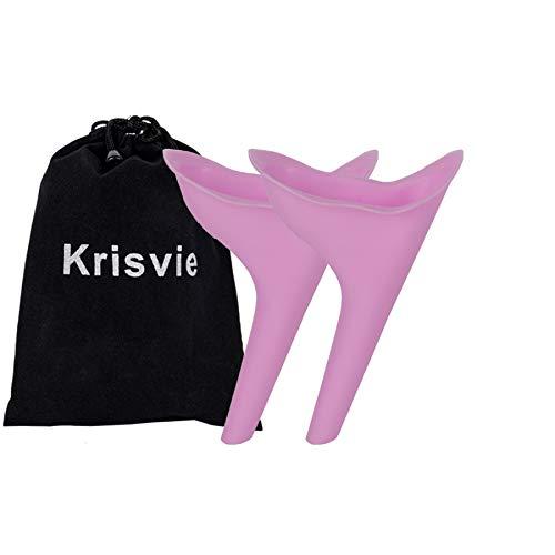 Krisvie 2Pcs Urinario Femenino, Dispositivo urinario portátil para orinar de pie la Mujer, Femenino, Pie Portátil Mujer Viajar Camping Senderismo Servicios Baños Públicos (Rosado)