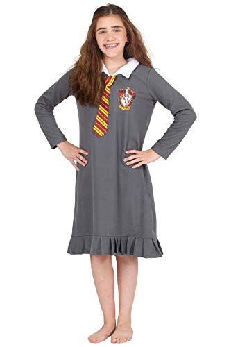 INTIMO Harry Potter Hermione Granger Gryffindor Halloween Costume Uniform Tie Pajama Gown, Gray, 14/16