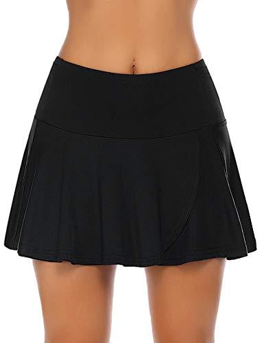 COOrun Women's Athletic Skorts Golf Skirt Running Hiking Skort Tennis Pleated Skirts with Pocket Womens Black Skirt Black Medium