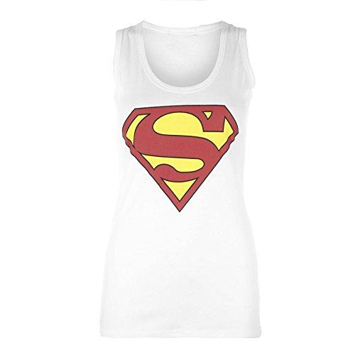 Pure Fashion - Damen Frauen Ärmelloses Muskel T-Shirt Top Racer Rücken Dehnbar Comic Superhelden Tank Top - 36-38, Weiß Superman - Clubbekleidung Ausgehen Freizeit