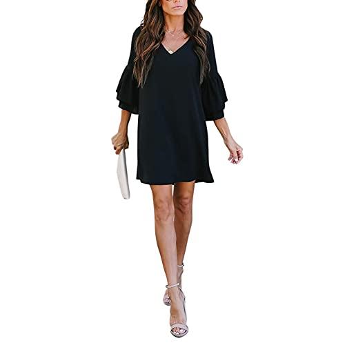 JPVDPA Women's Loose Solid Color Dress Sweet & Cute V-Neck Bell Sleeve Shift Dress Summer Plain Mini Dress Black